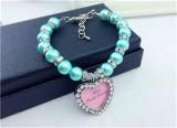 El perro del collar del animal doméstico de /Pink de 2 filas aljofara encanto de la joyería del perro del collar del animal doméstico