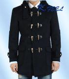 2016着の高品質の濃紺メンズ冬のウールのダッフルコート