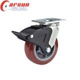 200 mm Heavy Duty giratorio de la PU de la rueda de ricino (con freno lado metálico)