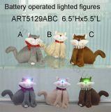 Gato peludo bonito com iluminação Eyes-3asst. Luzes de Natal