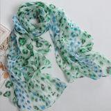 Scialle d'argento di seta di Georgette della sciarpa di buona qualità della donna di disegno di 2017 modi (SP064)
