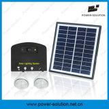 sistema di illuminazione solare domestico portatile del comitato solare di 4W 11V con il caricatore del telefono mobile dei 2 indicatori luminosi
