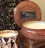 Candela rotonda naturale del regalo dello stagno della soia 340g in casella