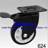 Schwarze PU-Schwenker-Platten-oberste schwarze Rahmen-Fußrolle
