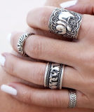 Ретро высеканные античные серебряные комплекты кольца