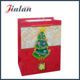 Personnaliser le sac stratifié lustré de cadeau d'arbre de Noël du papier en ivoire 3D