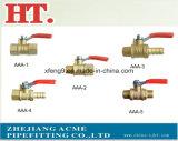 Robinet à tournant sphérique en laiton de gaz d'amorçage avec le traitement en acier