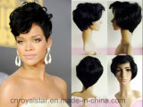 Rihanna mit Black Curly Hair Fashion Short Synthetic Hair
