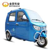 Triciclo de motor azul para pasajeros