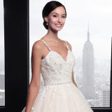 Attractive A-Line V-Neck Tulle Lace Appliques Beaded Wedding Dress (SL023)