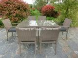 고정되는 등나무 옥외 가구를 식사하는 테이블 7개 피스 장방형