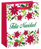 Мешок подарка рождества бумажного мешка белой хозяйственной сумки цвета горячий штемпелюя
