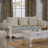 Sofá de tela con marco de madera de sofá y mesa de lado (D92B)