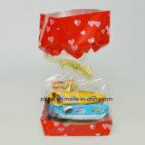 Customzied a estampé le sac latéral basé dur carré transparent de cadeau de sacs de sucrerie de cellophane de gousset de BOPP avec le bas dur