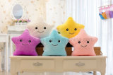 Blue Glowing Colorful Luminous LED Lucky Star Peluches Oreillers Farcis