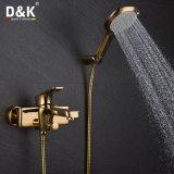 Ducha del oro del diseño moderno y grifo de lujo del baño con el kit de la ducha