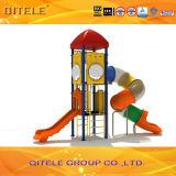 89mm galvanisierte Pfosten-bunte luxuriöse zwei Schichten Plattform und drehendes Gefäß-Plättchen-Kind-im Freienspielplatz-Gerät
