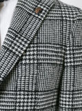 Grauer Check-Tweed-Mann-Umhüllungen-Blazer