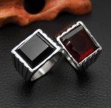Legden de Roestvrije Juwelen Zircon van Simples het de Unisex-Zwarte & Rood van de Ring in