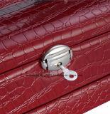 Ожерелье серьги кольца аргументы за устроителя хранения коробки зеркала PU ювелирных изделий кожаный