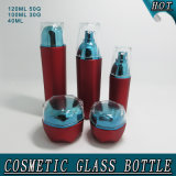 Cosmético de acrílico privado de aire rojo mate de la botella de cristal del tarro de la crema del masón de Guangzhou que empaqueta con la tapa y la paja