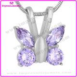 灰のための紫色の蝶火葬の壷の記念のネックレス