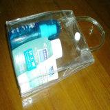 Sac à provisions en plastique transparent durable de bouton de PVC d'OEM avec le logo