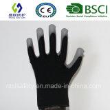 черный нейлон 18g с перчатками безопасности покрытия PU Гэри