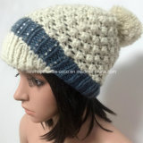 100% шерсти Исландии, ручной работы способ шлем Crocheted женщин с анизотремусом/пиком/ваткой