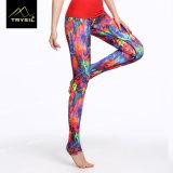 Ghette pagate stampate variopinte di yoga di Legging del piede dei pantaloni