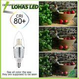 Luz de bulbo ahorro de energía de la vela de los candelabros LED de E12 6W 7W