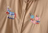 고품질 자수 형식 100%Cotton 긴 소매 여자 셔츠