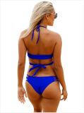 "Swimsuit de duas partes ""sexy"" cruzado Strappy de azul real"