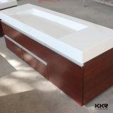 Bacia de superfície contínua do banheiro do gabinete da resina de pedra artificial de Kingkonree