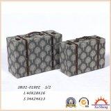 3-PC tapizó el banco de lino superior del otomano del almacenaje de la impresión de la elevación