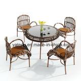 Рамки мебели ротанга таблица напольной алюминиевой обедая установила с 4 стулами