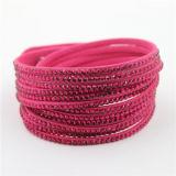 Bracelets faits sur commande en cristal de cuir de bracelet de mode de ventes en gros