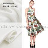 tela de seda impresa satén de 70%Wool 30%Silk para la ropa de las señoras