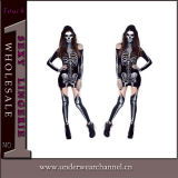 "Traje de esqueleto do Natal adulto ""sexy"" extravagante de Halloween do Romper (8948)"