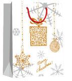 Le flocon de neige a estampé avec le sac de papier de modèle fait sur commande de vacances de ventes en gros d'étiquette du fabriquant