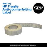 Anti-Falsificando o Tag de papel frágil do estrangeiro H3 ISO18000-6c RFID da freqüência ultraelevada