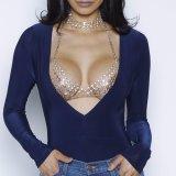 Camicetta sottile sexy della tuta del V-Collo delle donne di modo