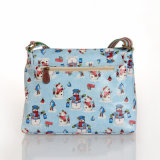 Blue Waterproof PVC Canvas Snowman Patterns Shoulder Bag (99170)
