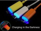 Cabo do USB do preço de fábrica micro com luz do diodo emissor de luz para Andriod