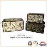 Коробка подарка античного хобота хранения печати PU вложенности цветастого деревянная