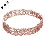 최신 판매 매력 보석 금에 의하여 도금되는 CZ 다이아몬드 여성 팔찌