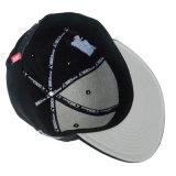 Подгонянная крышка Snapback черноты крышки спортов с вышивкой 3D