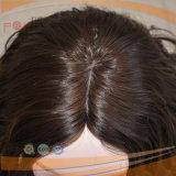100% 유럽 자연적인 파도치는 Remy Virgin 사람의 모발 두 배는 실크 최고 가발을 매듭을 짓는다