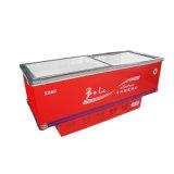 Refrigerador plano del congelador de la parte inferior de la cabina de la puerta deslizante con la esquina inoxidable