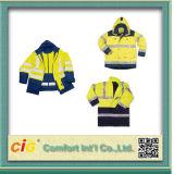 Куртки безопасности высокого Parka Windbreaker оптовой продажи видимости отражательные